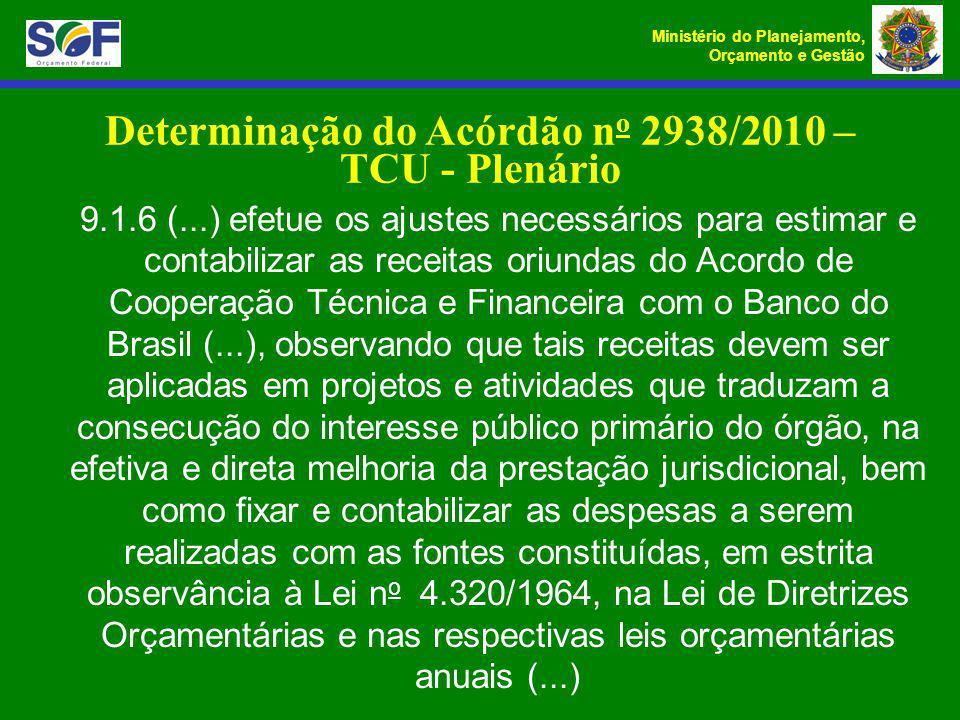 Determinação do Acórdão no 2938/2010 – TCU - Plenário