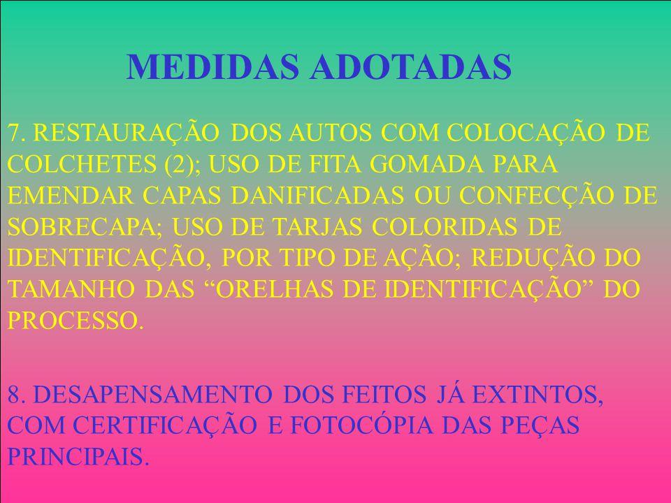 7. RESTAURAÇÃO DOS AUTOS COM COLOCAÇÃO DE COLCHETES (2); USO DE FITA GOMADA PARA EMENDAR CAPAS DANIFICADAS OU CONFECÇÃO DE SOBRECAPA; USO DE TARJAS COLORIDAS DE IDENTIFICAÇÃO, POR TIPO DE AÇÃO; REDUÇÃO DO TAMANHO DAS ORELHAS DE IDENTIFICAÇÃO DO PROCESSO.