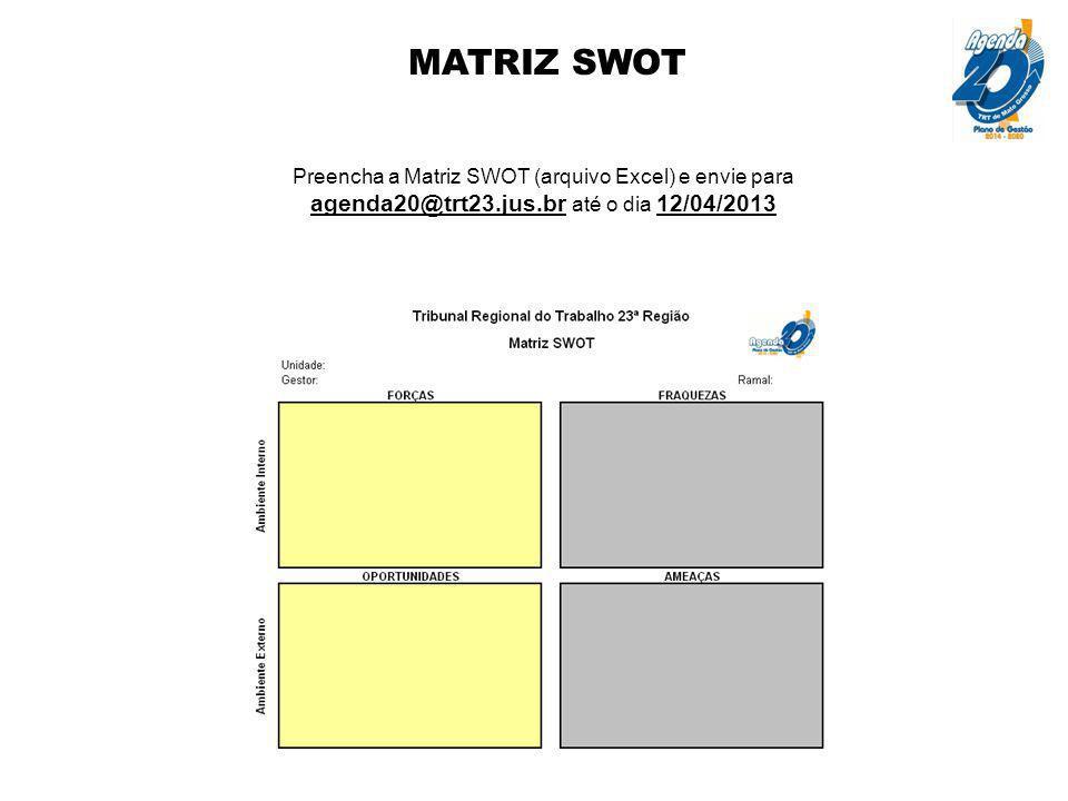 MATRIZ SWOT Preencha a Matriz SWOT (arquivo Excel) e envie para agenda20@trt23.jus.br até o dia 12/04/2013.