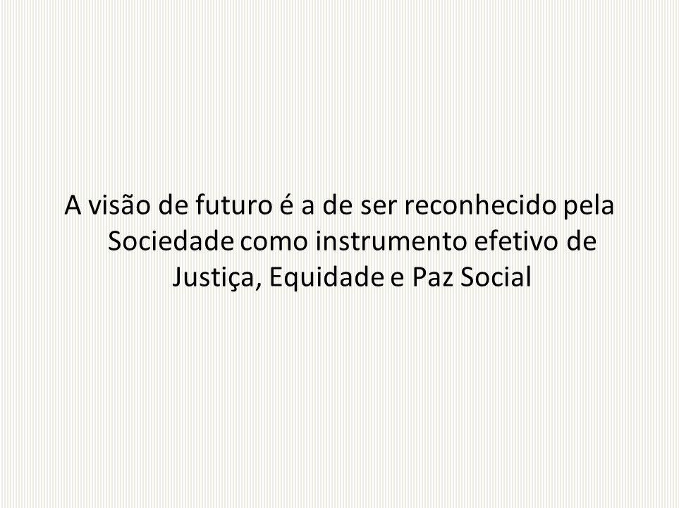 A visão de futuro é a de ser reconhecido pela Sociedade como instrumento efetivo de Justiça, Equidade e Paz Social