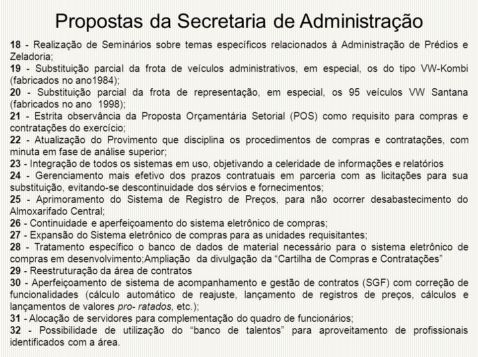 Propostas da Secretaria de Administração