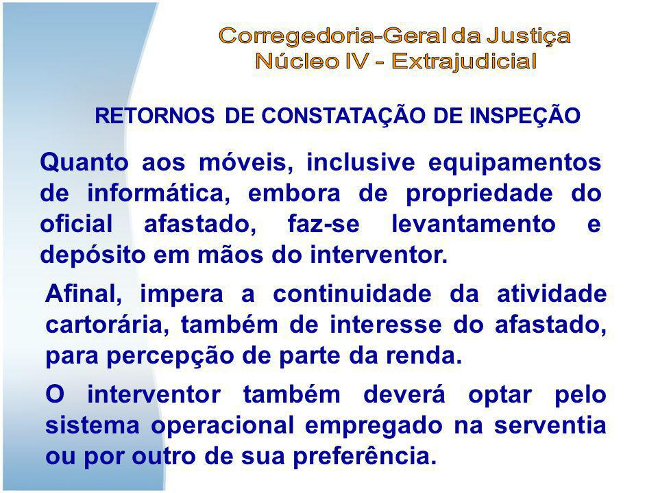 RETORNOS DE CONSTATAÇÃO DE INSPEÇÃO