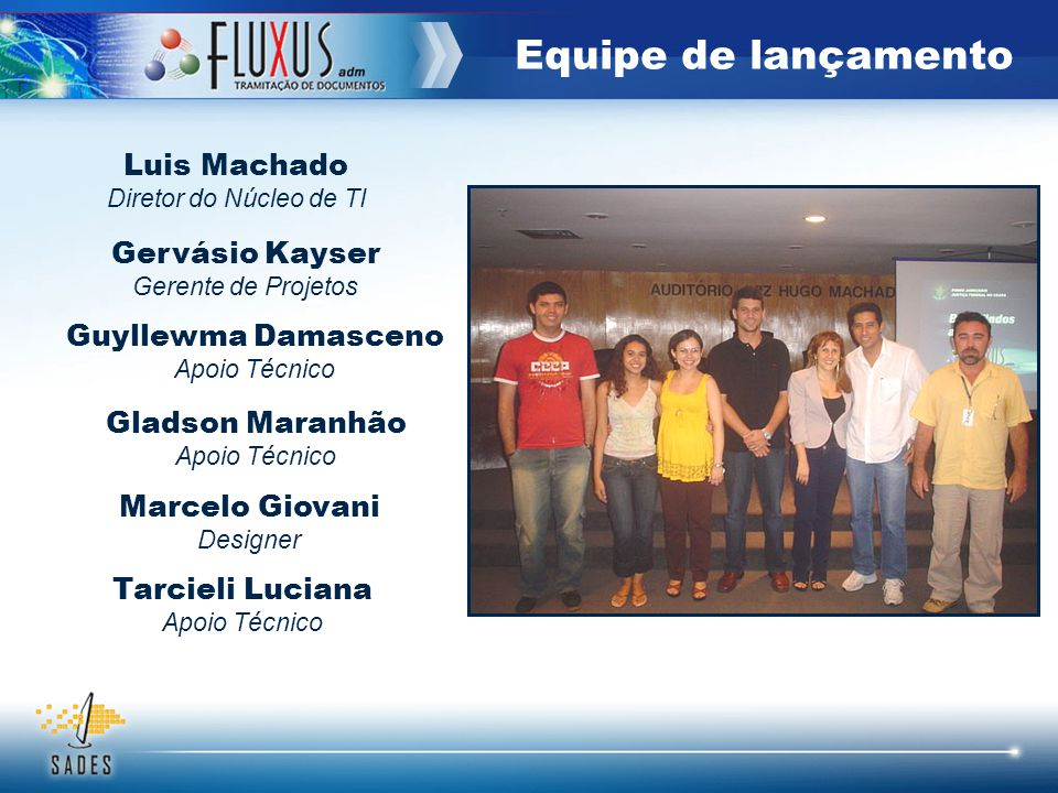 Equipe de lançamento Luis Machado Gervásio Kayser Guyllewma Damasceno