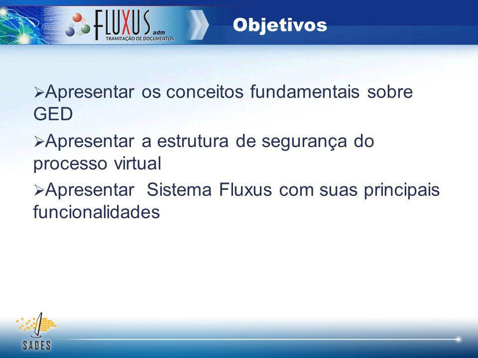 Objetivos Apresentar os conceitos fundamentais sobre GED. Apresentar a estrutura de segurança do processo virtual.