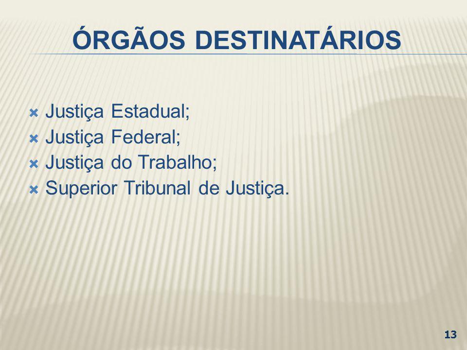 ÓRGÃOS DESTINATÁRIOS Justiça Estadual; Justiça Federal;