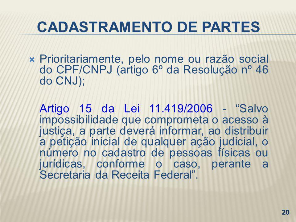 CADASTRAMENTO DE PARTES