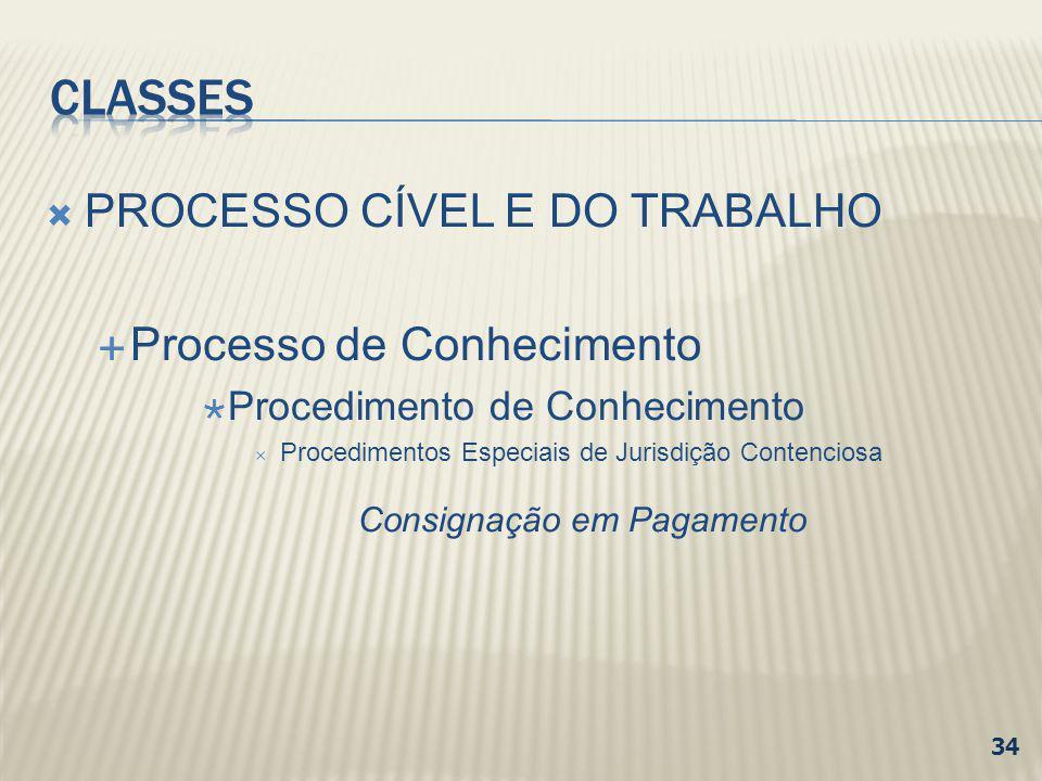 CLASSES PROCESSO CÍVEL E DO TRABALHO Processo de Conhecimento