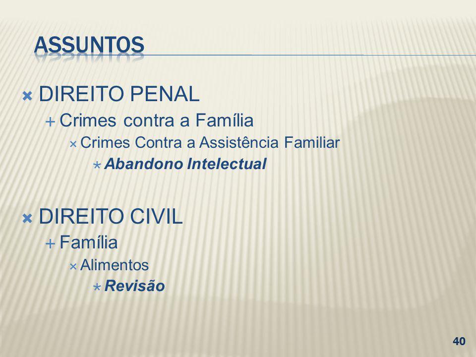 ASSUNTOS DIREITO PENAL DIREITO CIVIL Crimes contra a Família Família
