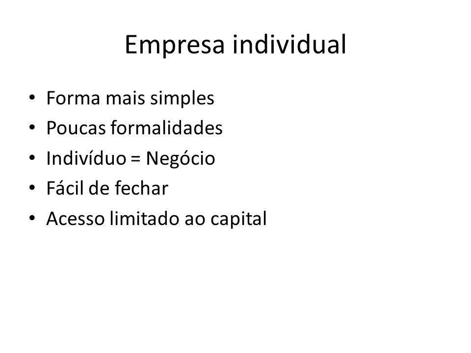 Empresa individual Forma mais simples Poucas formalidades