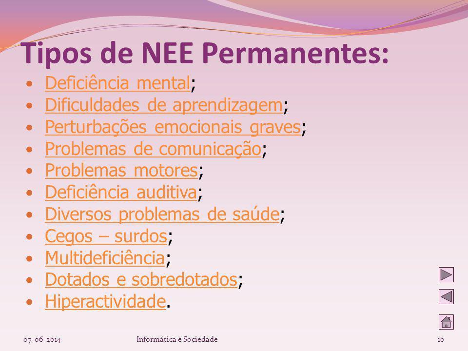 Tipos de NEE Permanentes: