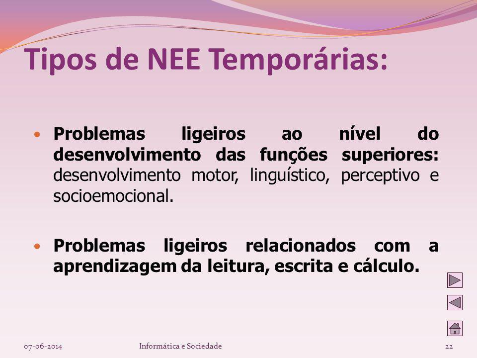 Tipos de NEE Temporárias: