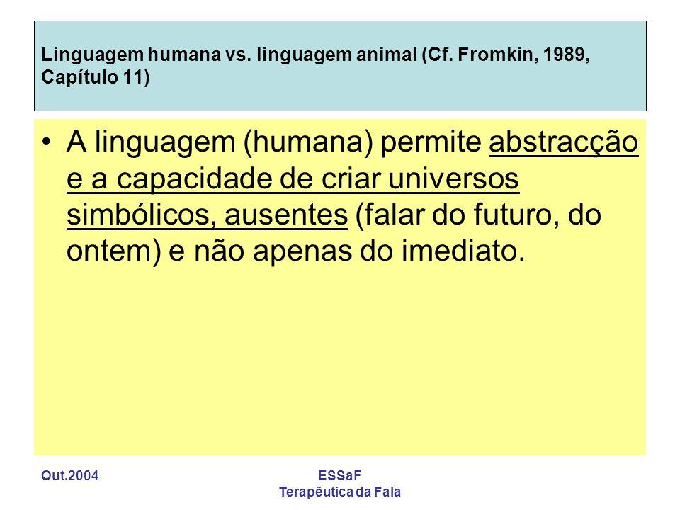 Linguagem humana vs. linguagem animal (Cf. Fromkin, 1989, Capítulo 11)
