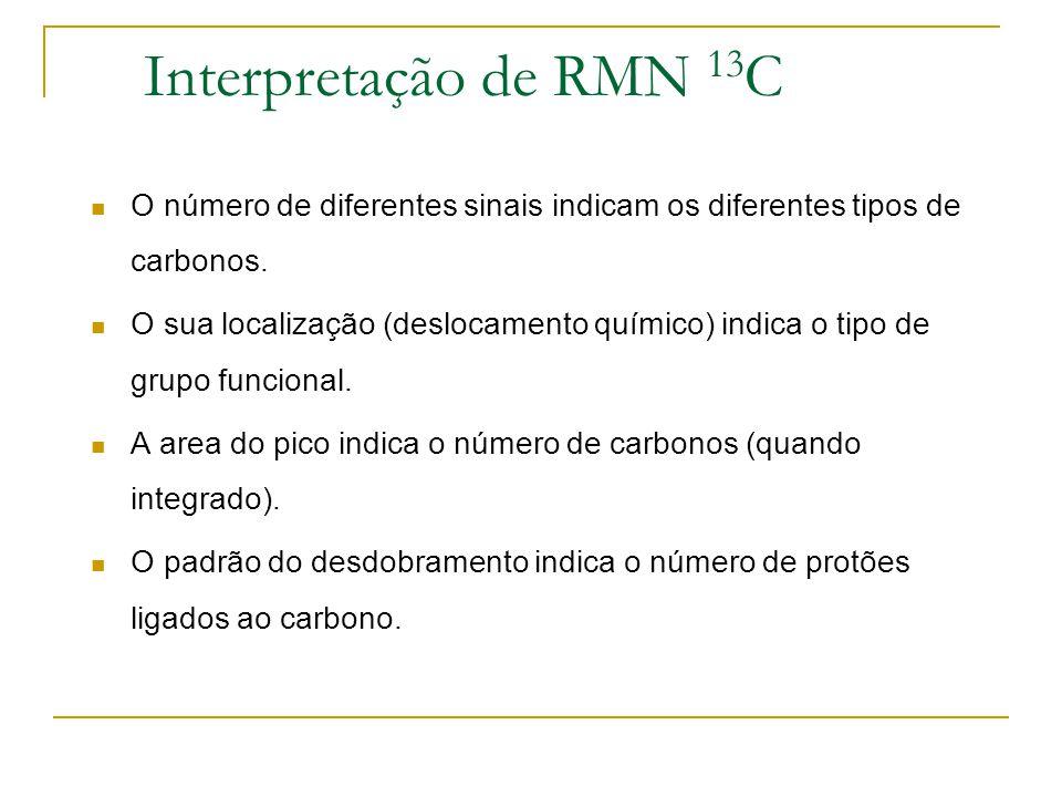 Interpretação de RMN 13C O número de diferentes sinais indicam os diferentes tipos de carbonos.