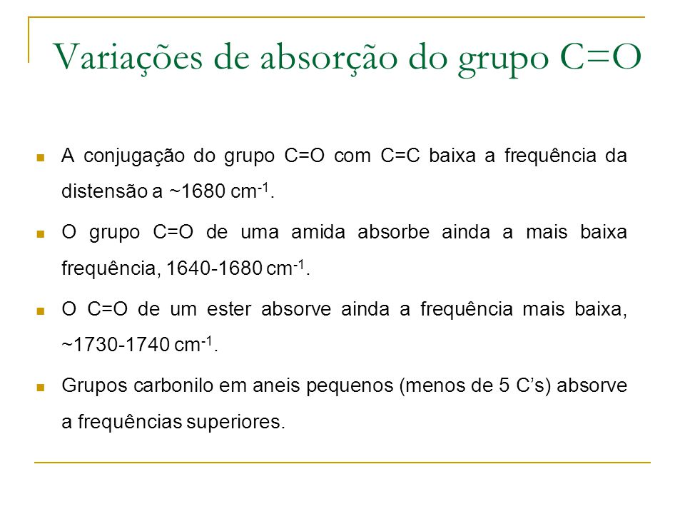 Variações de absorção do grupo C=O