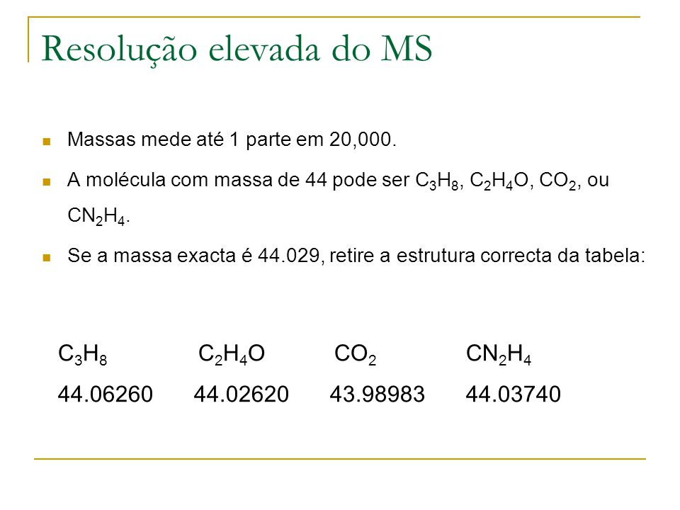 Resolução elevada do MS