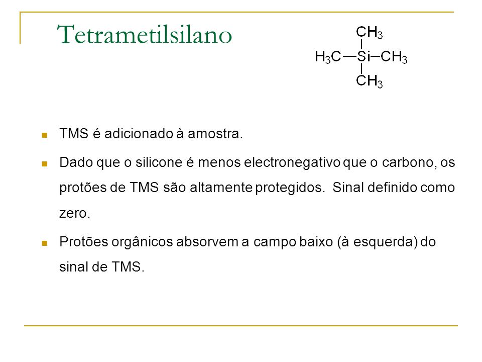 Tetrametilsilano TMS é adicionado à amostra.