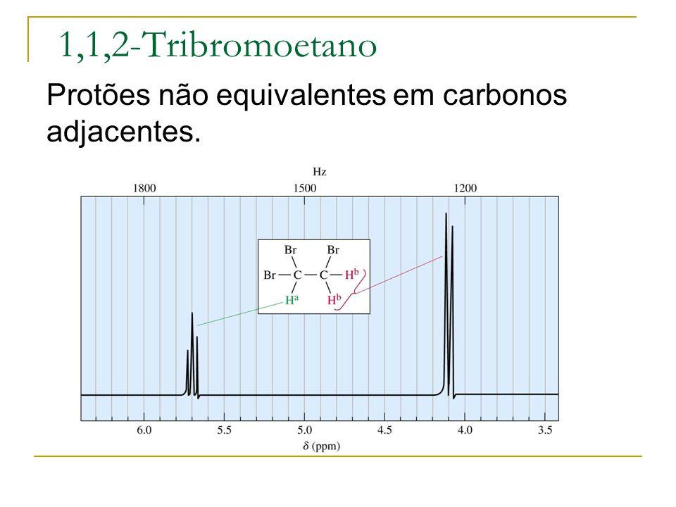 1,1,2-Tribromoetano Protões não equivalentes em carbonos adjacentes.