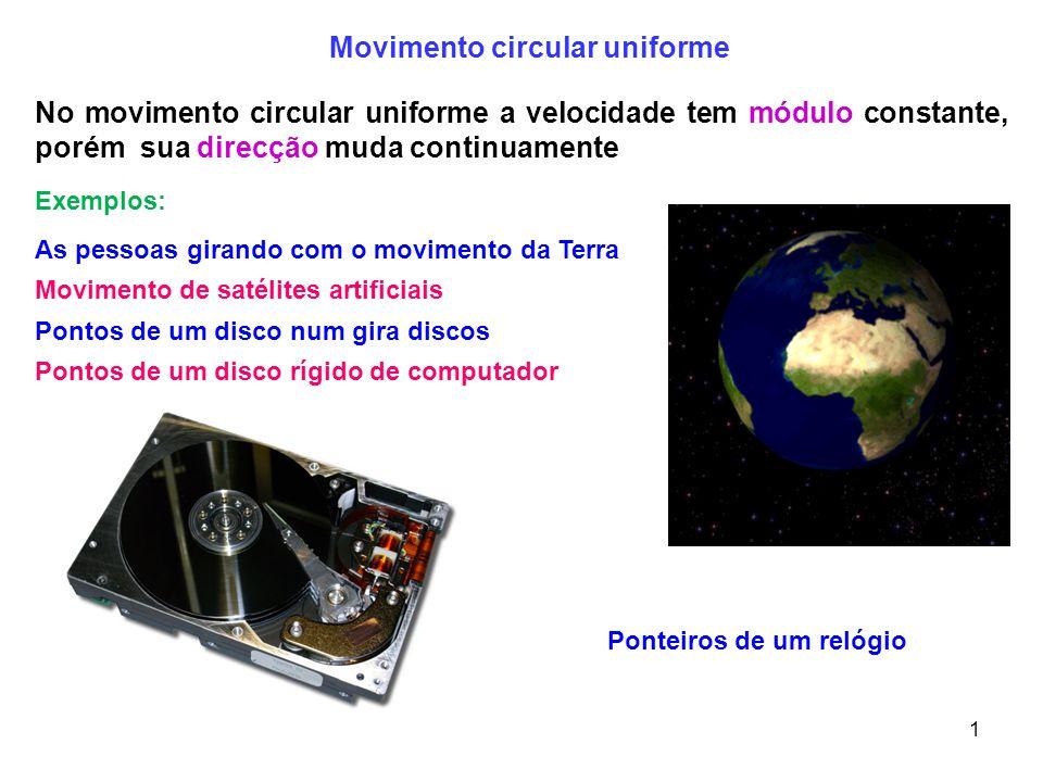 Movimento circular uniforme Ponteiros de um relógio