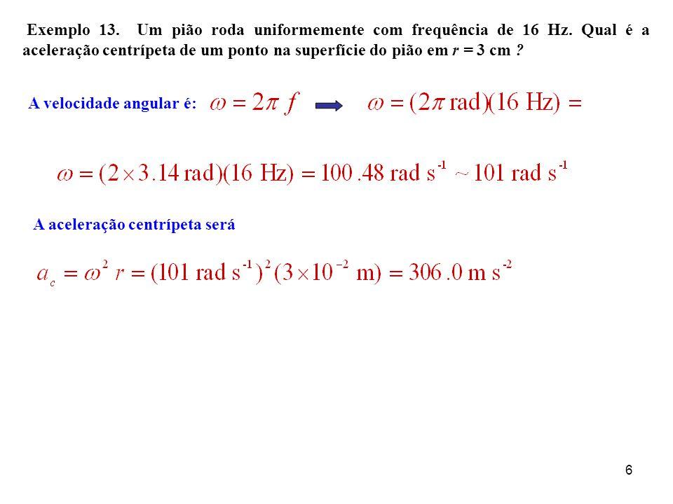 Exemplo 13. Um pião roda uniformemente com frequência de 16 Hz