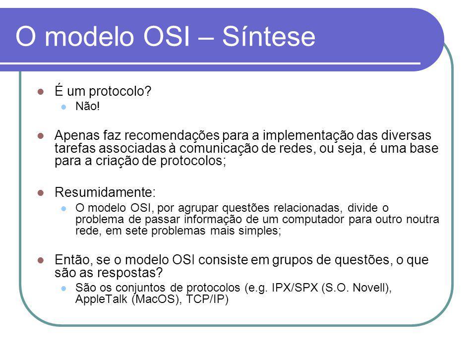 O modelo OSI – Síntese É um protocolo