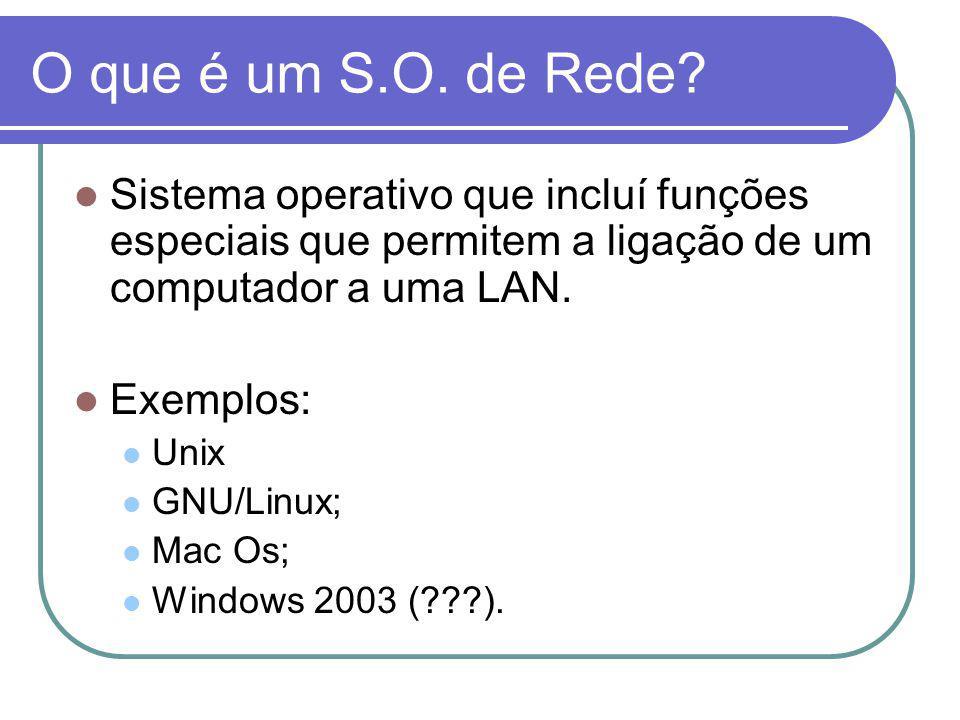 O que é um S.O. de Rede Sistema operativo que incluí funções especiais que permitem a ligação de um computador a uma LAN.