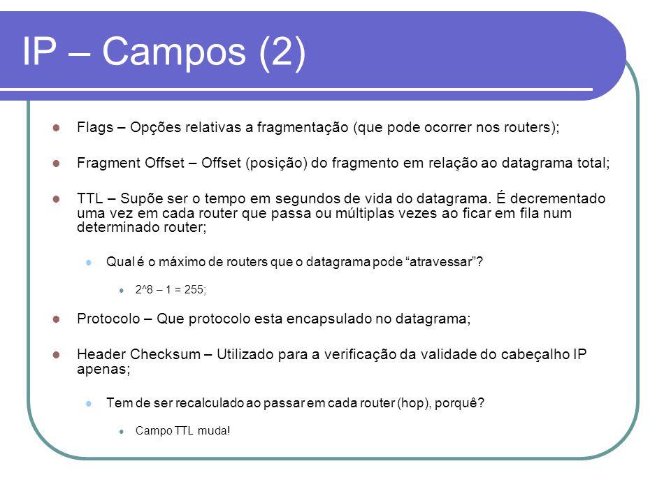 IP – Campos (2) Flags – Opções relativas a fragmentação (que pode ocorrer nos routers);