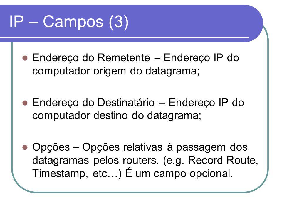 IP – Campos (3) Endereço do Remetente – Endereço IP do computador origem do datagrama;