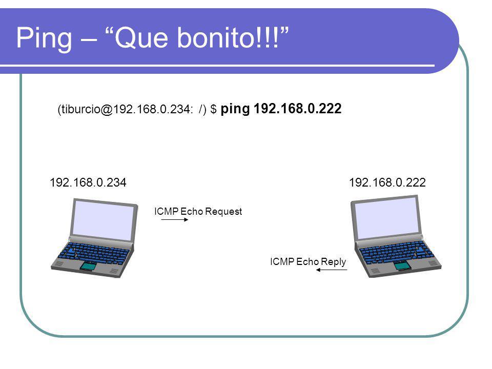 Ping – Que bonito!!! (tiburcio@192.168.0.234: /) $ ping 192.168.0.222. 192.168.0.234. 192.168.0.222.