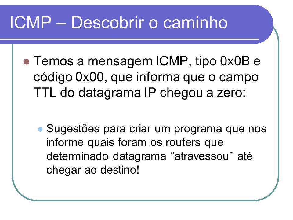 ICMP – Descobrir o caminho