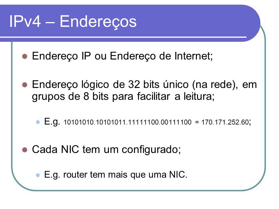 IPv4 – Endereços Endereço IP ou Endereço de Internet;