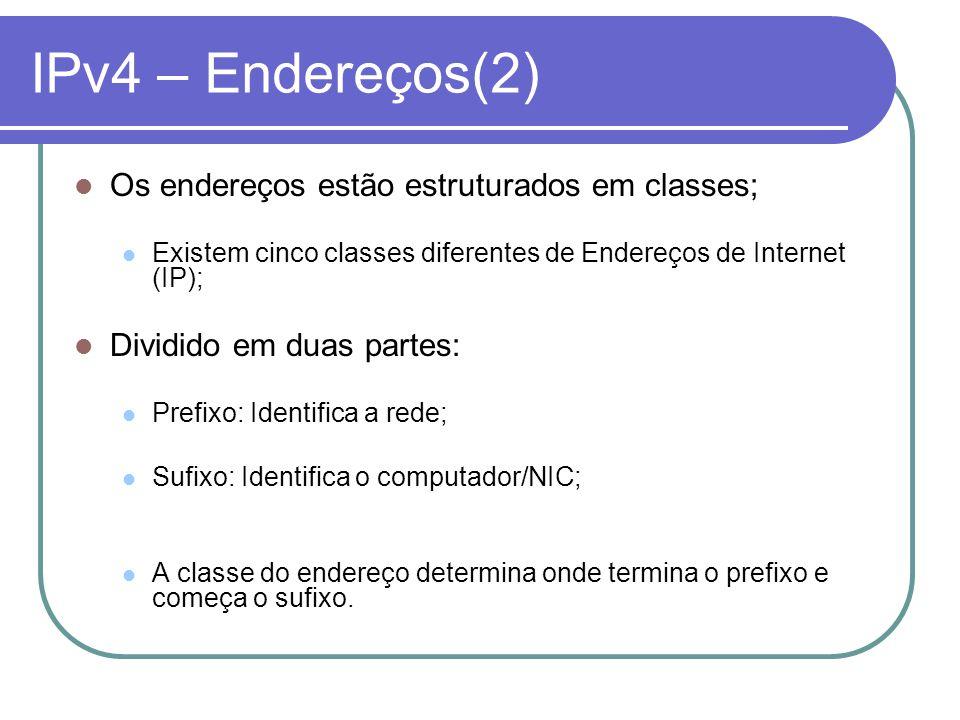 IPv4 – Endereços(2) Os endereços estão estruturados em classes;