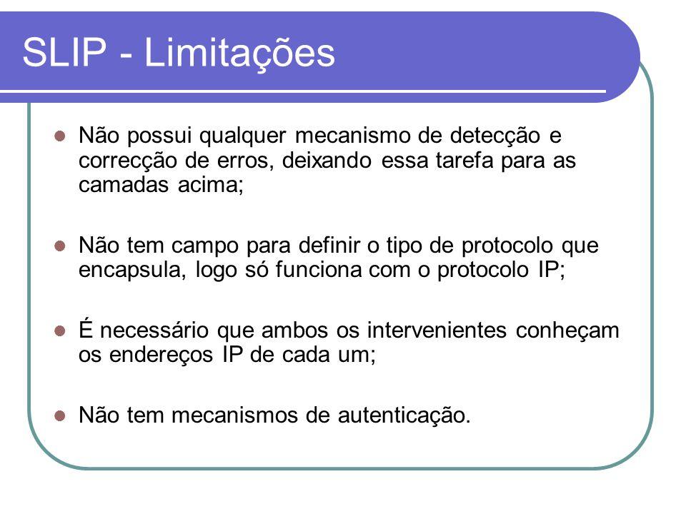 SLIP - Limitações Não possui qualquer mecanismo de detecção e correcção de erros, deixando essa tarefa para as camadas acima;
