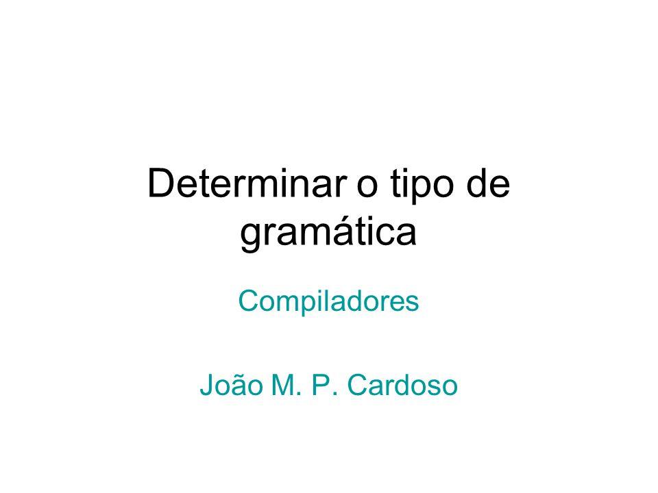 Determinar o tipo de gramática