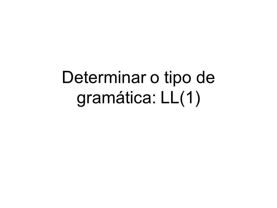 Determinar o tipo de gramática: LL(1)