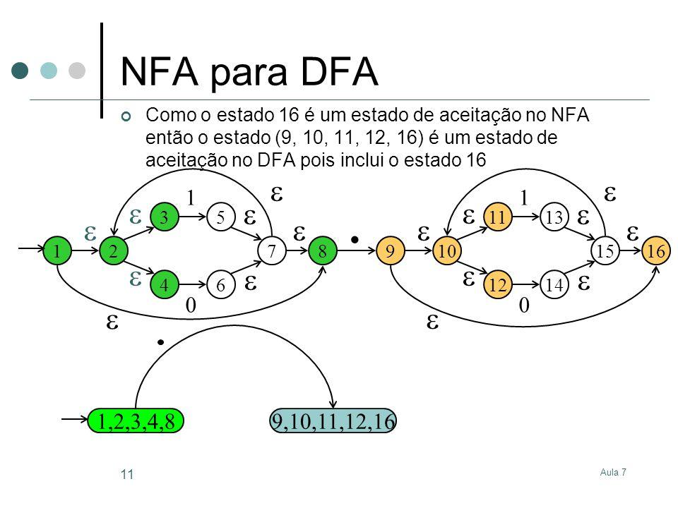 . NFA para DFA                 1 1 1,2,3,4,8