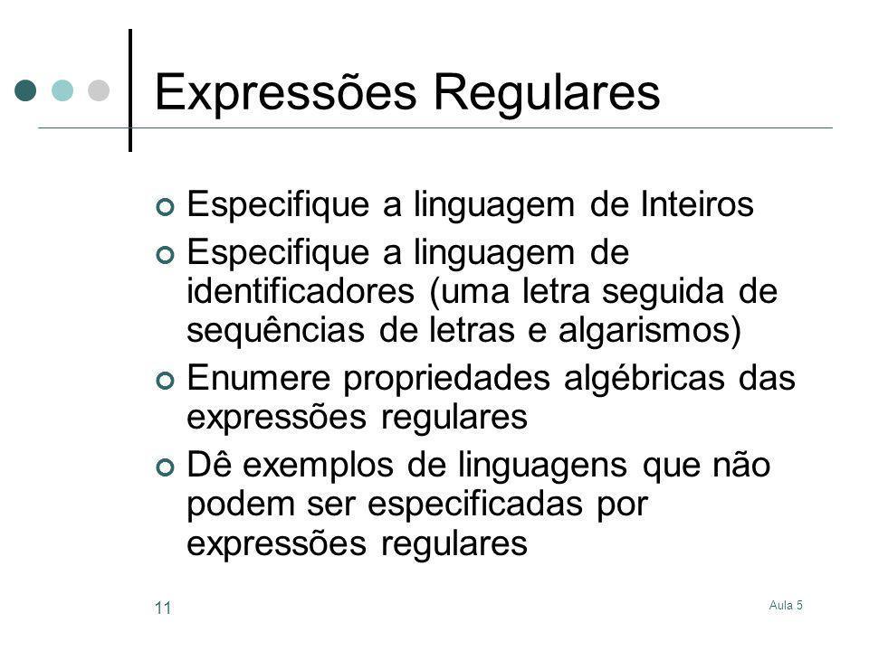 Expressões Regulares Especifique a linguagem de Inteiros
