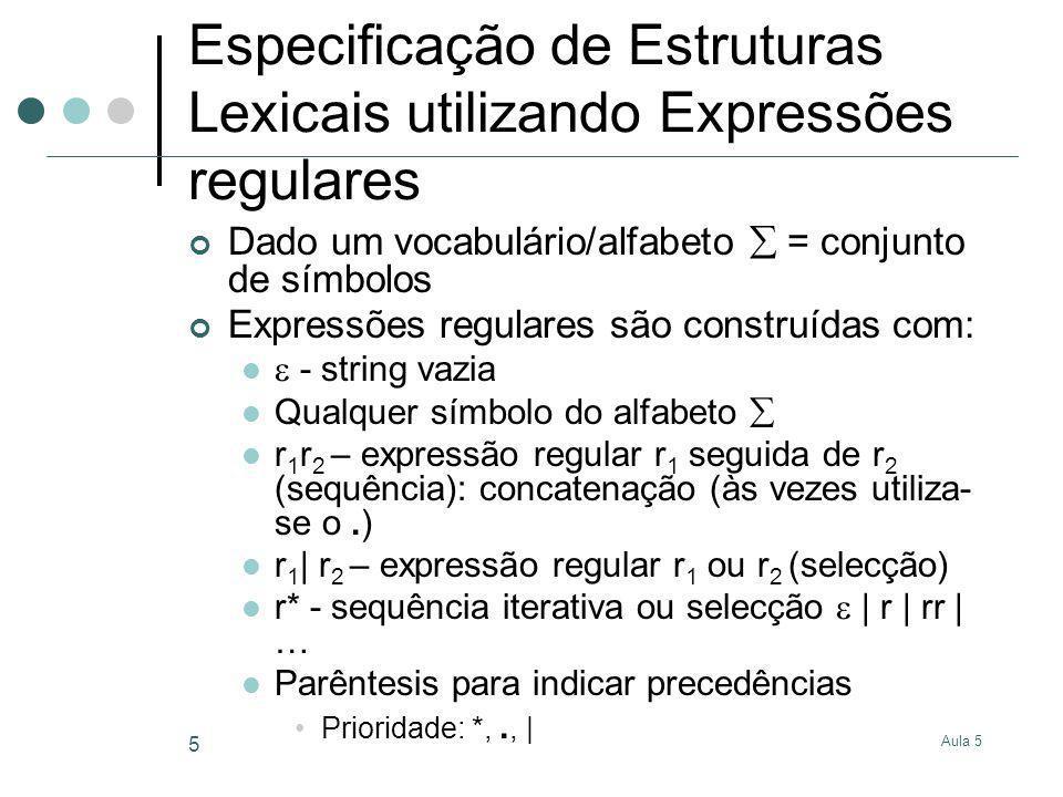 Especificação de Estruturas Lexicais utilizando Expressões regulares