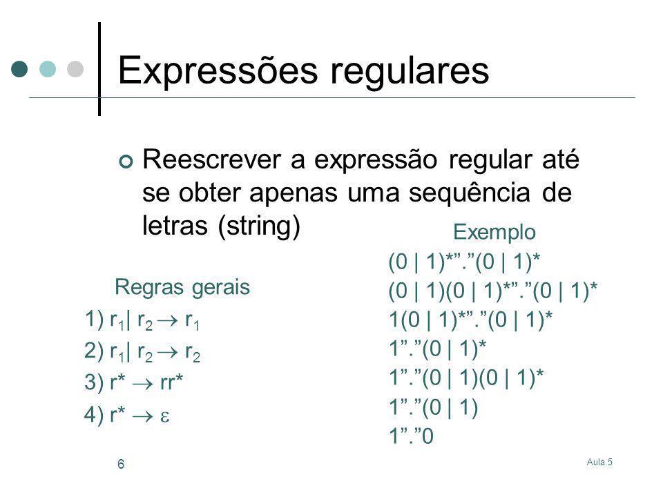 Expressões regulares Reescrever a expressão regular até se obter apenas uma sequência de letras (string)