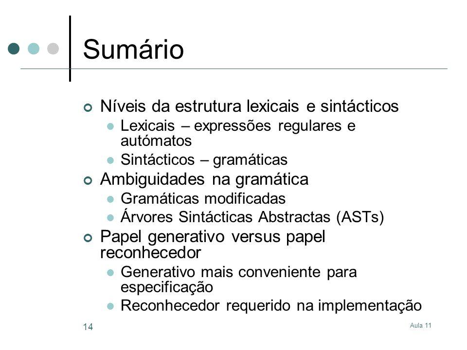 Sumário Níveis da estrutura lexicais e sintácticos