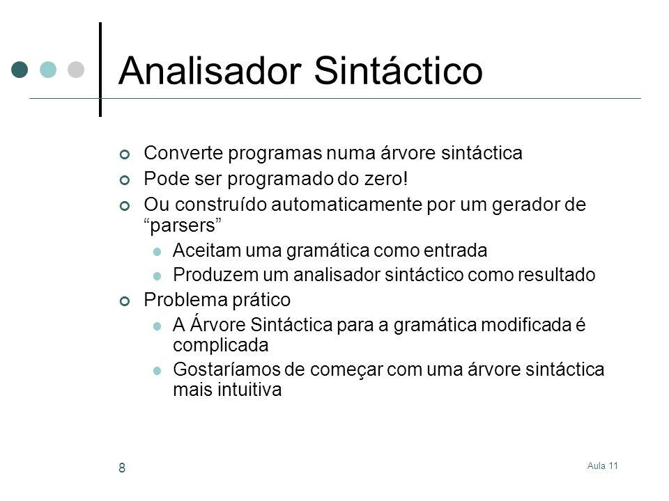 Analisador Sintáctico