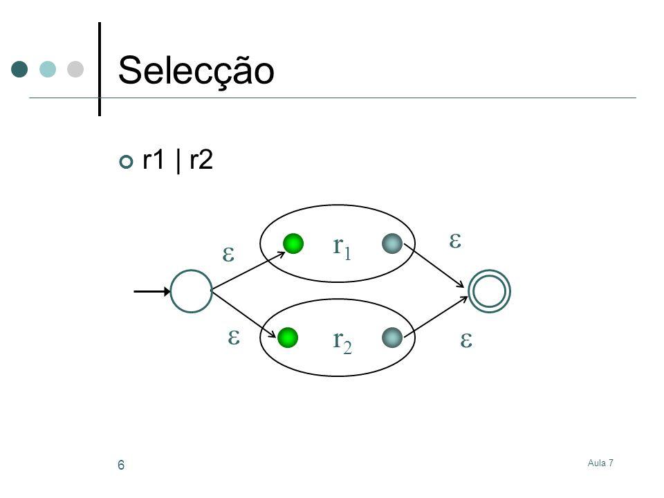 Selecção r1 | r2  r1   r2  Aula 7