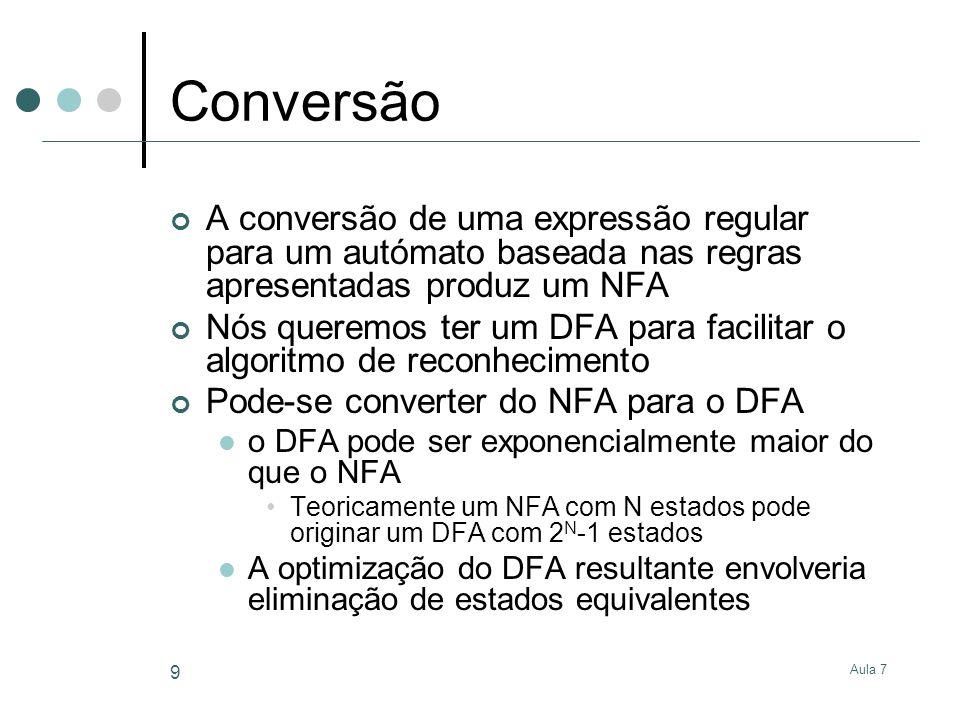 Conversão A conversão de uma expressão regular para um autómato baseada nas regras apresentadas produz um NFA.
