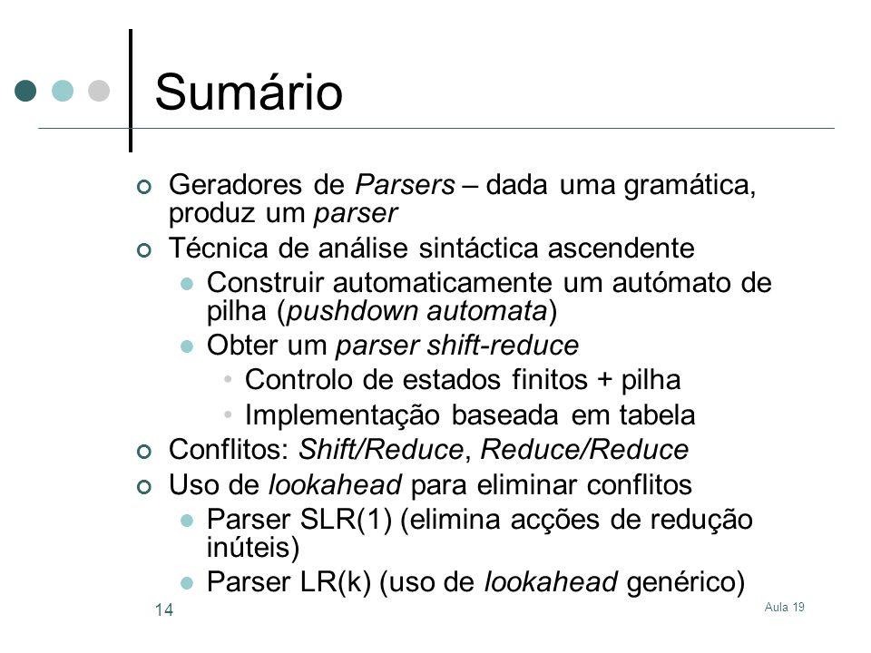 Sumário Geradores de Parsers – dada uma gramática, produz um parser