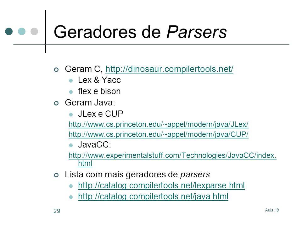 Geradores de Parsers Geram C, http://dinosaur.compilertools.net/