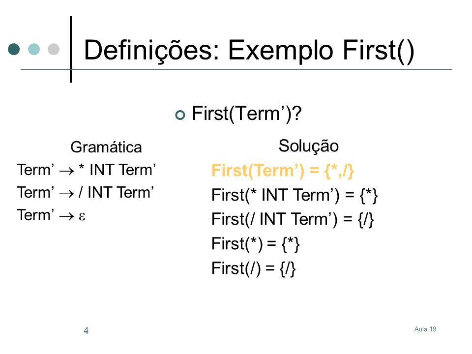 Definições: Exemplo First()