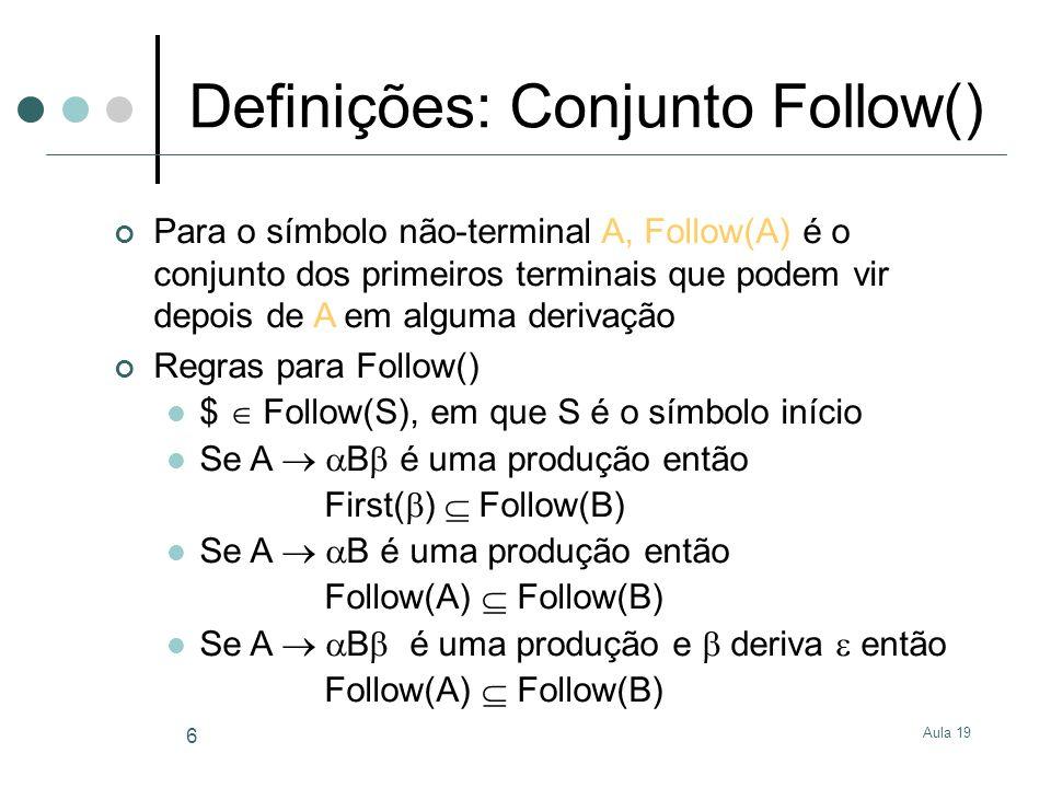 Definições: Conjunto Follow()