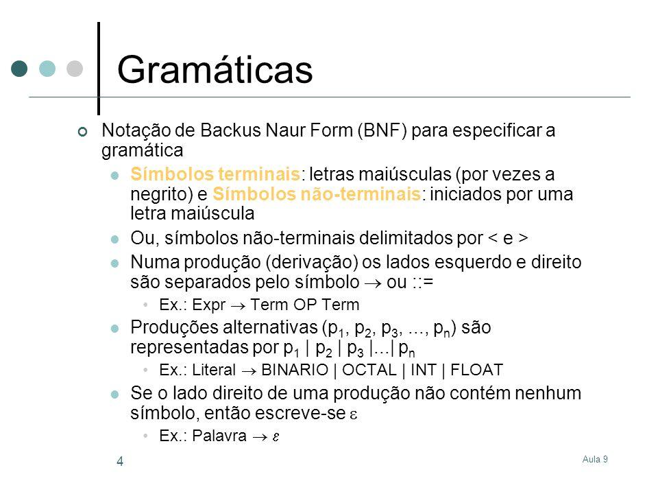 Gramáticas Notação de Backus Naur Form (BNF) para especificar a gramática.