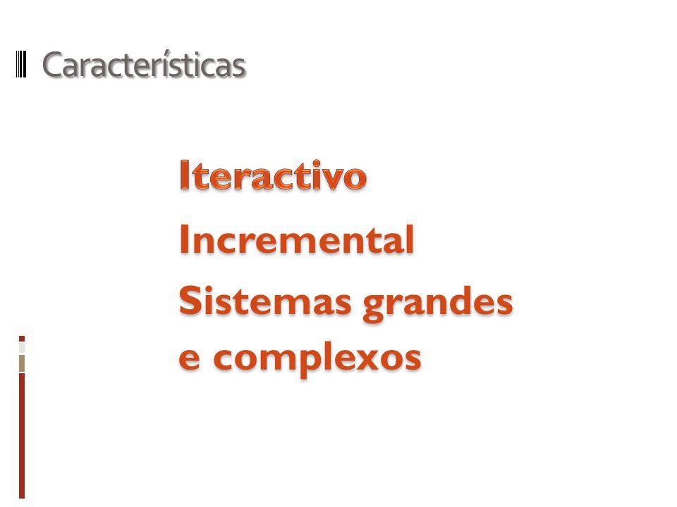 Características Iteractivo Incremental Sistemas grandes e complexos