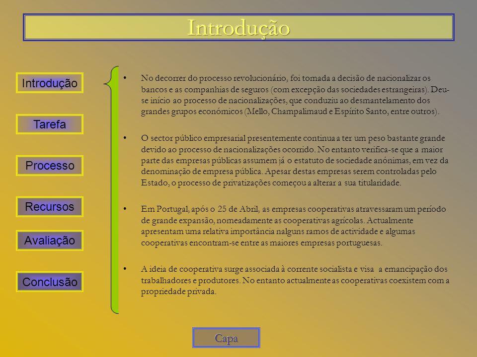 Introdução Introdução Tarefa Processo Recursos Avaliação Conclusão