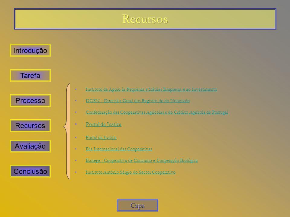 Recursos Introdução Tarefa Processo Recursos Avaliação Conclusão Capa